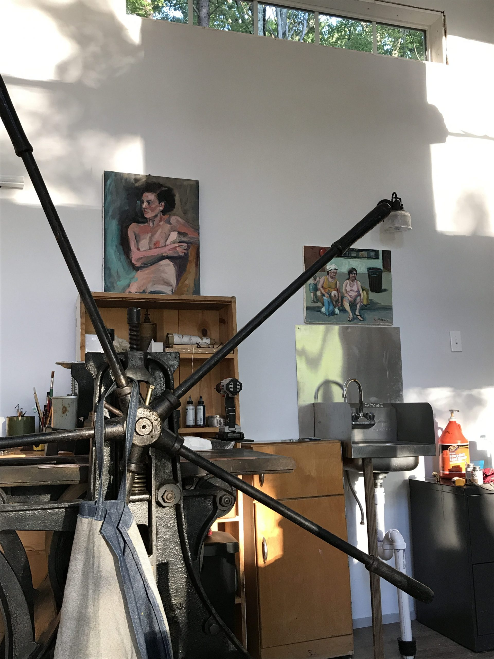 Printing Press at Rushing River Art Studio